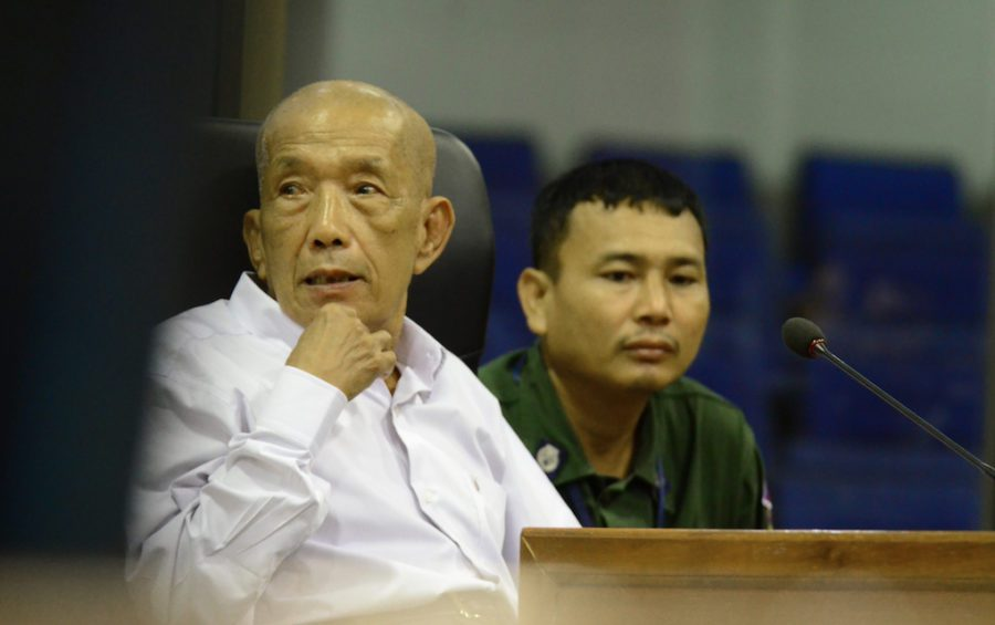 "Kaing Guek Eav, alias ""Duch,"" on June 13, 2016, during his testimony at the Khmer Rouge Tribunal in Case 002/02 against fellow former regime leaders Khieu Samphan and Nuon Chea. (Nhet Sok Heng/ECCC)"