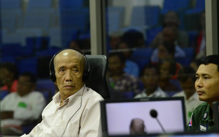 "Kaing Guek Eav, known as ""Duch"" on June 23, 2016, during his testimony at the Khmer Rouge Tribunal in Case 002/02 against fellow former Khmer Rouge senior leaders Khieu Samphan and Nuon Chea. (Nhet Sok Heng/ECCC)"