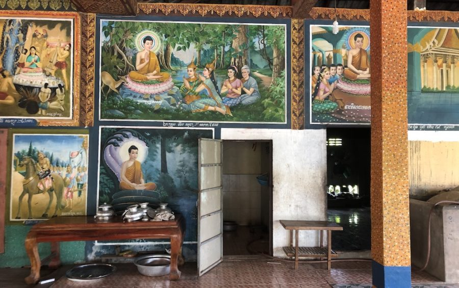 A painting (top center) funded by Kem Sokha inside the meeting hall at Wat Pothivong in Prey Veng province's Svay Antor commune on September 1, 2020, three days after Sokha visited the pagoda. (Matt Surrusco/VOD)