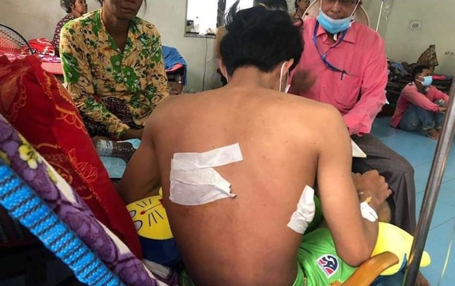 Neang Makara is treated at the Banteay Meanchey Provincial Referral Hospital on August 27, 2020. (Adhoc)