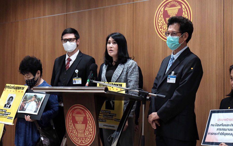 Sitanan Satsakit, sister of disappeared Thai activist Wanchalearm Satsaksit, testifies at the Thai House of Representatives on August 27, 2020. (Provided: Ivana Kurniawati)