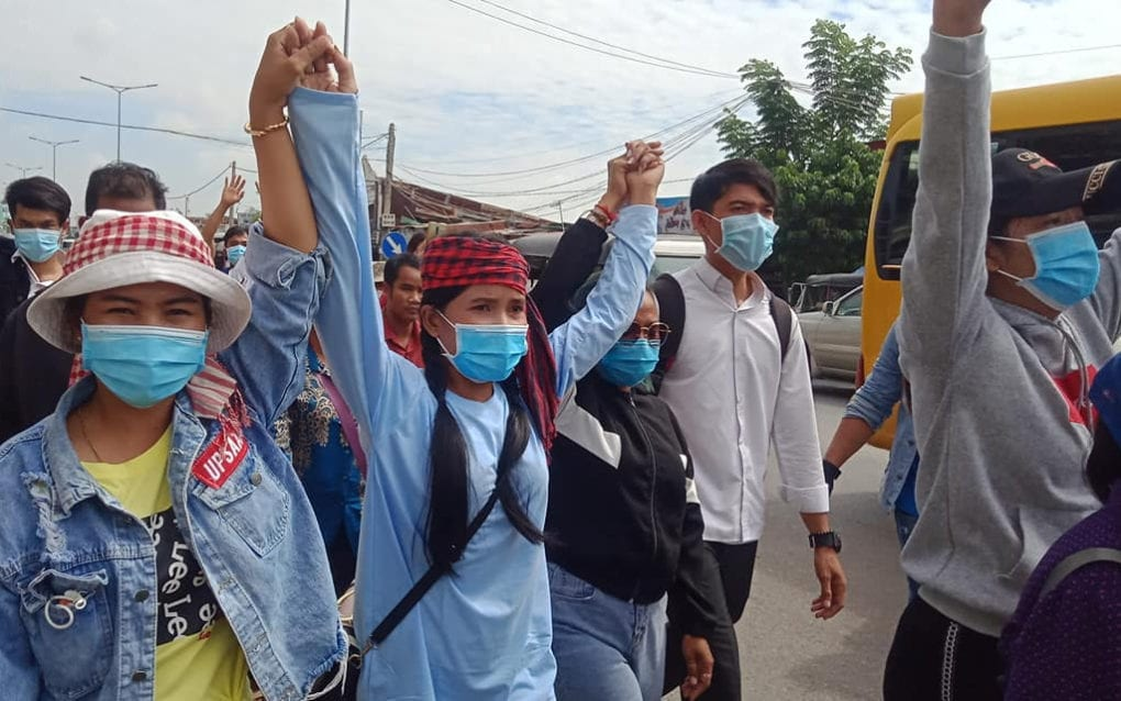 Activists protest in Phnom Penh on September 7, 2020, in a photo posted to the Facebook page of the Khmer Student Intelligent League Association.