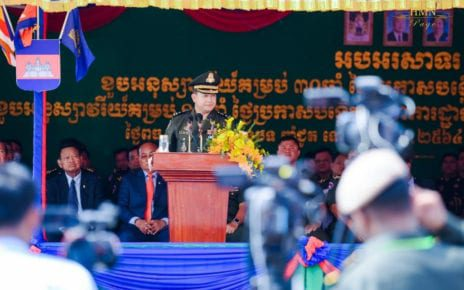 Hun Manet speaks at the 11th anniversary of the establishment of the Prime Minister's Bodyguard Unit, in Phnom Penh on September 9, 2020, in a photo posted to Manet's Facebook page.