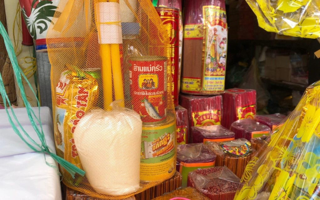 Prepackaged Pchum Ben offerings and individual items for sale at O'Russei Market in Phnom Penh on September 15, 2020. (Matt Surrusco/VOD)