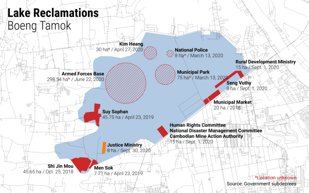 A map of state and private reclamations in Phnom Penh's Boeng Tamok (Michael Dickison/VOD)