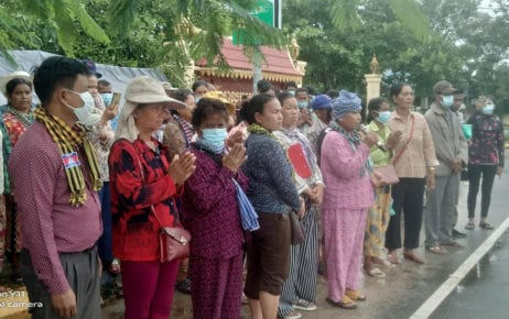 Villagers in a dispute with Chinese concessionaire UDG stand in front of Koh Kong Provincial Hall in a photo posted to Facebook on September 29, 2020.