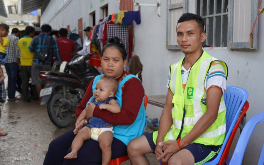 Striking Cintri worker Phay Hy, 27, at the company's garage in Phnom Penh on October 8, 2020 (Tran Techseng/VOD)
