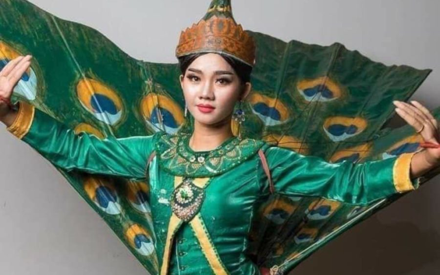 Suos Sophors, 27, in her peacock dance costume, in a photo supplied by her husband.