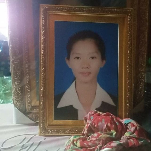 A framed photo of Suos Samphors at her funeral in October 2020. (Supplied)