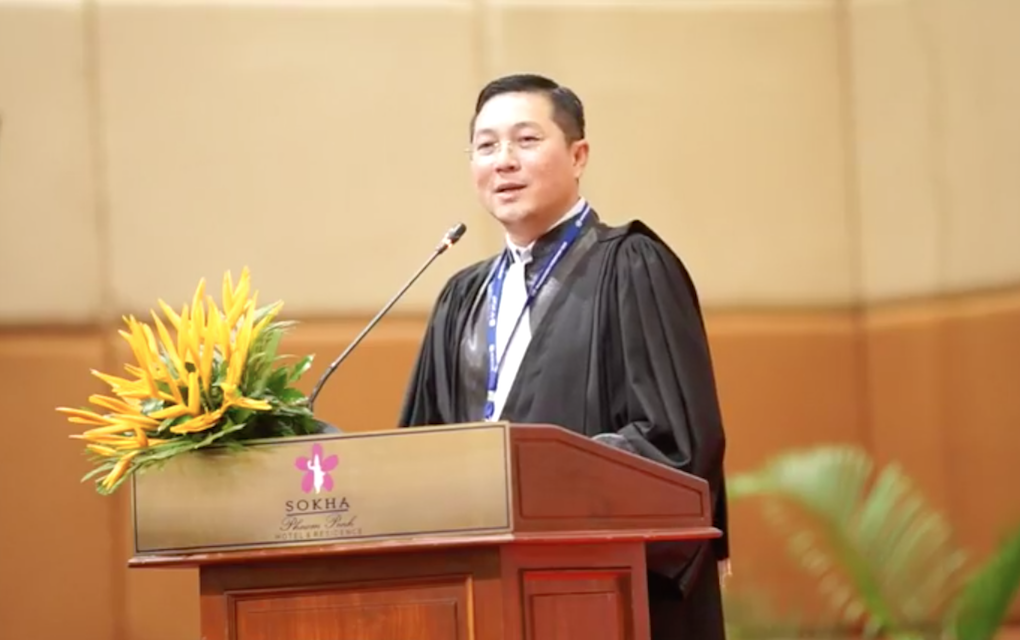 Bar Association president Ly Chantola gives a speech upon his election to the post on October 16, 2020, in this screenshot of a video posted to the association's Facebook page.