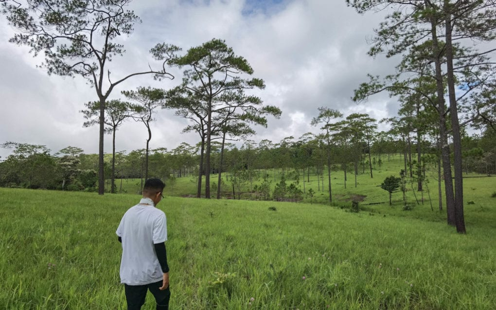 A tourist walks in Khnang Veal, an ecotourism site in Kampong Speu province, in June 2019. (Solo Landscape)