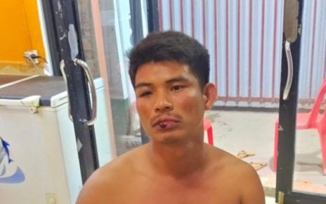 Tim Chamrong, 37, after he was beaten by police officers in Prey Nob district's Bit Traing commune in Preah Sihanouk province, in a photo supplied by his brother, Tim Chamroeun.