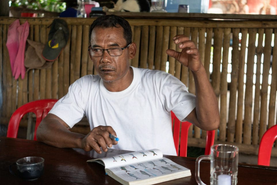 O'Svay commune former fisheries chief Kong Chanthy talks about in Stung Treng province's Ramsar protected wetlands, on August 14, 2020. (Enric Català/VOD)