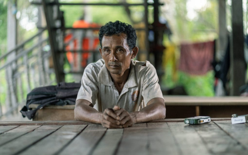 Koh Pnov community fishery chief Phan Muy in Stung Treng province on August 14, 2020. (Enric Català/VOD)