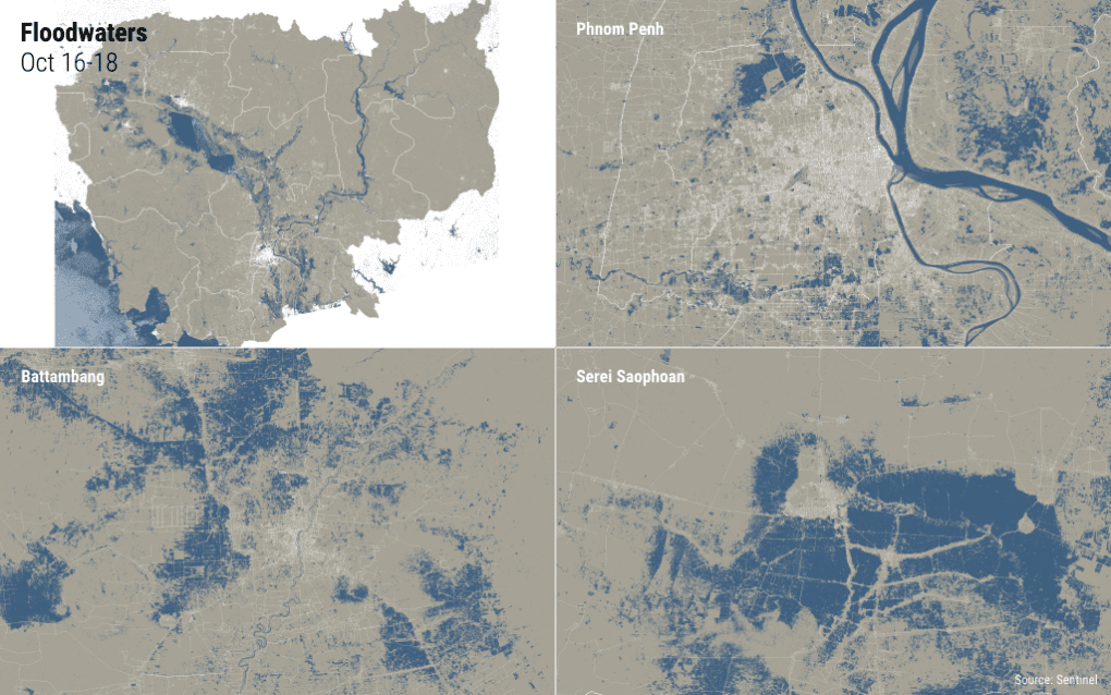 Data from the European satellite Sentinel-1 show flooding in Cambodia, Phnom Penh, Serei Saophoan City and Battambang City from October 16, 2020 through October 18, 2020, with blue areas representing water. (Michael Dickison/VOD)
