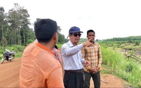 Unionist Rong Chhun, wearing sunglasses, gestures in Tbong Khmum province's Trapaing Phlong commune, in a photograph posted to his Facebook page on July 21, 2020.