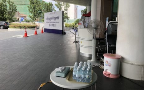 A patient screening point in the front of Royal Phnom Penh Hospital on July 28, 2020 (Matt Surrusco/VOD)