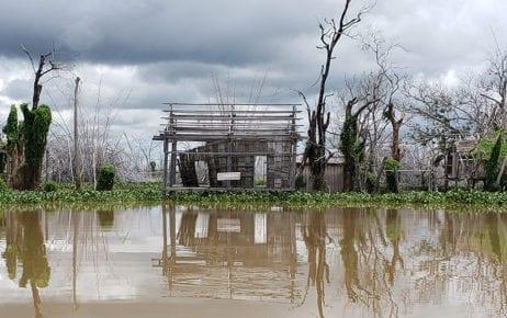 A building leftover from the flooded Kbal Romeas commune in Stung Treng province on September 22, 2020. (Danielle Keeton-Olsen/VOD)