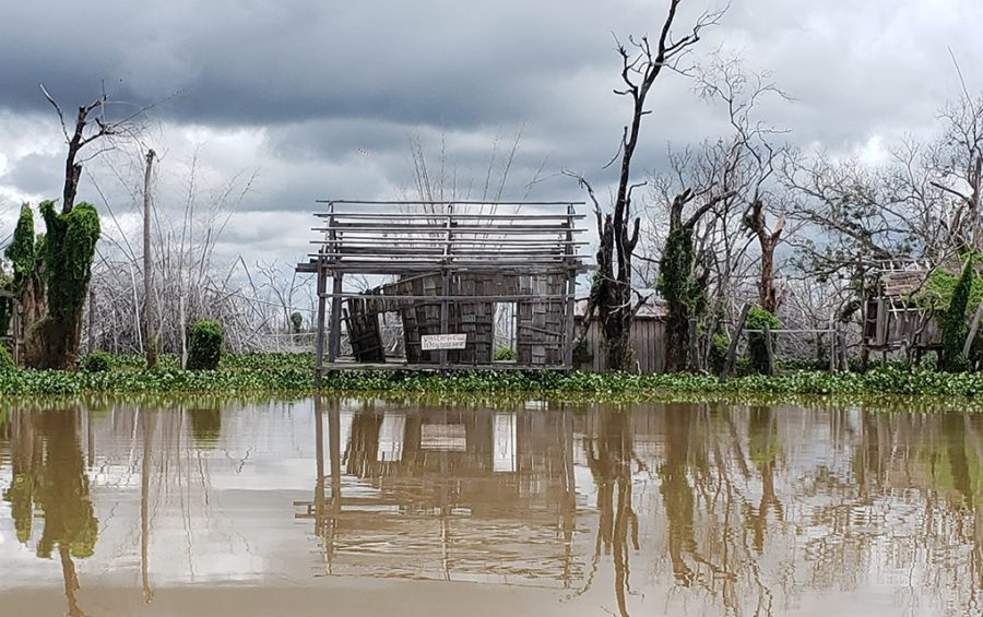 A building leftover from the flooded Kbal Romeas commune in Stung Treng province on September 22, 2020. (Danielle Keeton-Olsen/VOD)