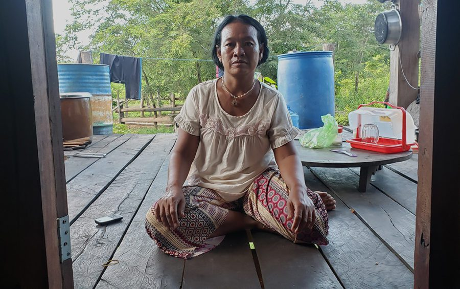 Sran Lanj, who became the leader of the Old Kbal Romeas community after the community was flooded and split, in her kitchen in Stung Treng province on September 22, 2020. (Danielle Keeton-Olsen/VOD)