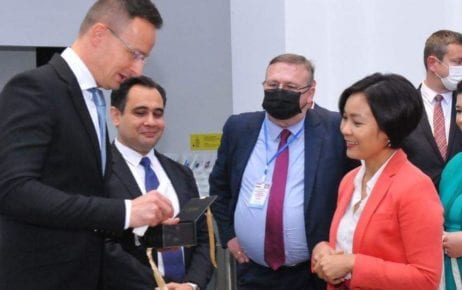 Hungarian Foreign Minister Peter Szijjarto (left) meets with Chea Serey, the National Bank's director-general of central banking, at Phnom Penh's Cambodia Museum of Money and Economy on November 3, 2020, in this photograph posted to her Facebook page.