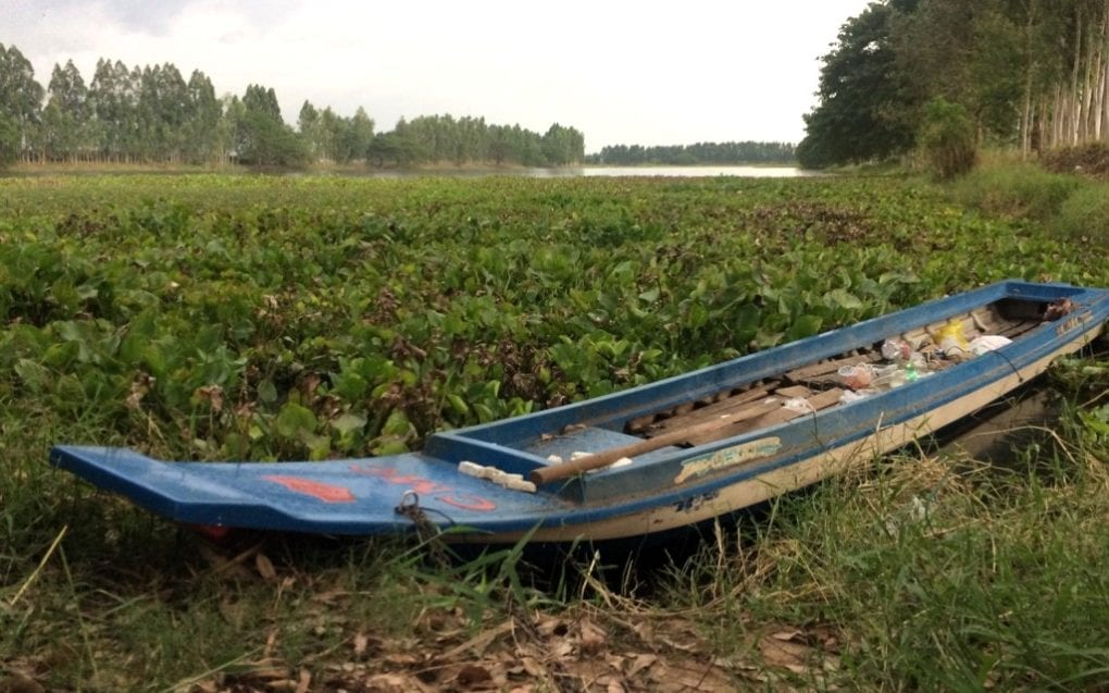A rowboat on a pond in Setbo commune, in Kandal province's Takhmao city, where a banana thief died while surrounded by a mob, in a photo taken on November 20, 2020. (Michael Dickison/VOD)
