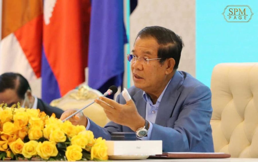 Prime Minister Hun Sen gives a speech at Phnom Penh's Peace Palace on November 25, 2020, in this photograph posted to his Facebook page.