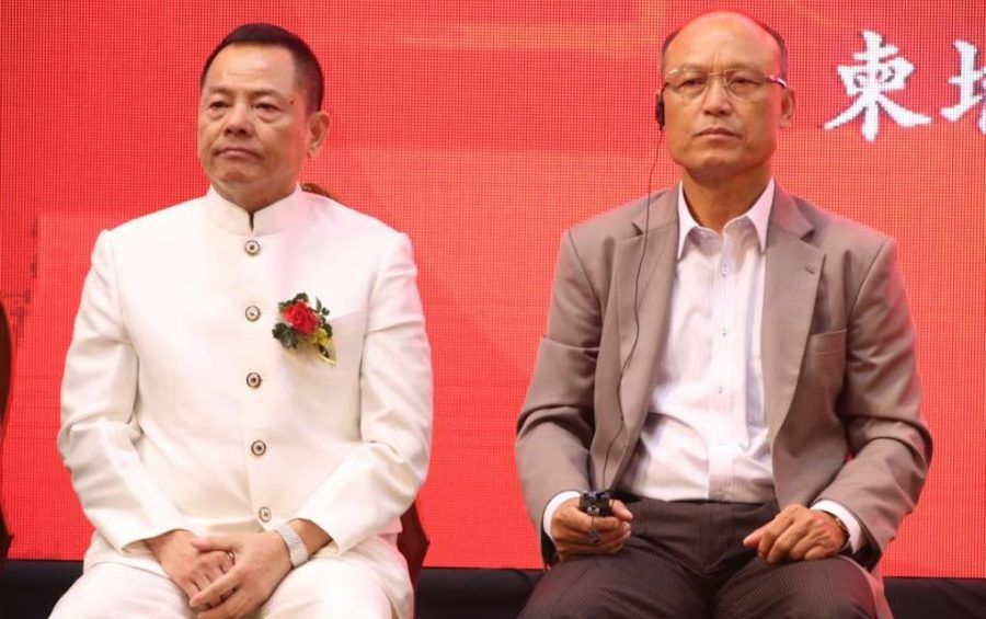 Former Macau crime boss Wan Kuok Koi and Cambodian military police chief Sao Sokha at a World Hongmen History and Culture Association event in Cambodia in May 2018 (Men Sam An's Facebook page).