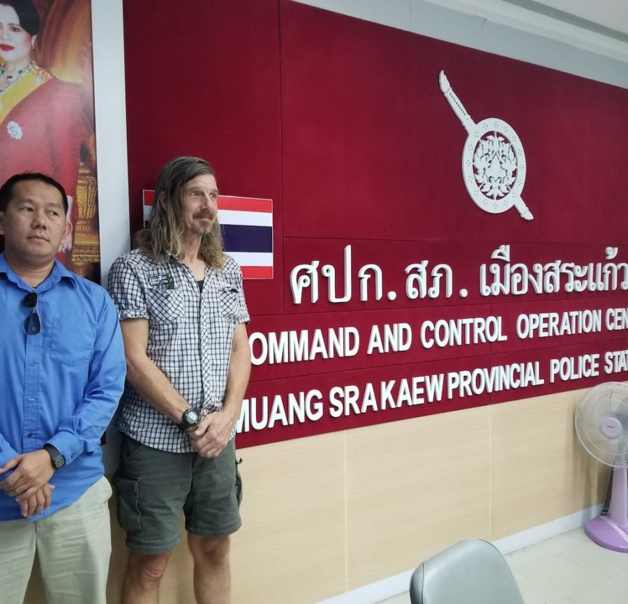 CNRP supporter Daley Uy and his friend Daniel Capka at a Thai police station in November 2019. (Supplied)