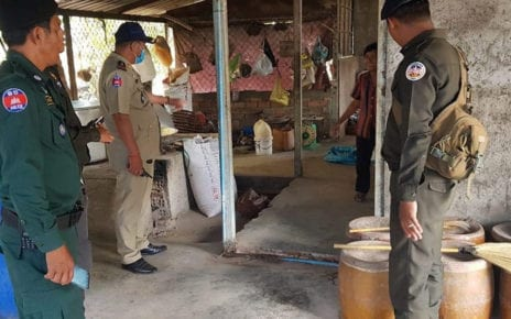 Authorities inspect a rice wine workshop in Kampong Chhnang province on November 29, 2020. (Kampong Chhnang provincial police)