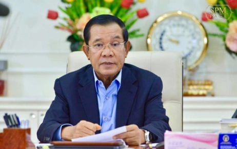 Prime Minister Hun Sen delivers a speech from his home in Kandal province on December 15, 2020, in this photograph posted to his Facebook page.