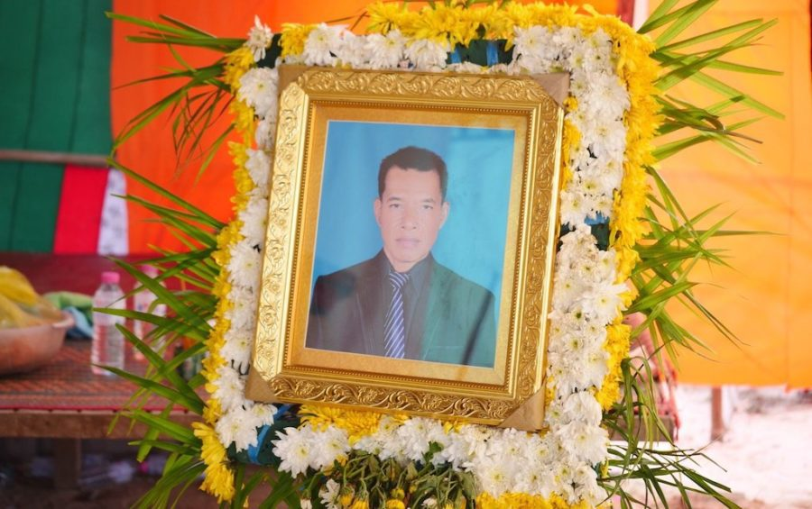 A portrait of Keo Puth at his funeral in Kampong Speu province on December 20, 2020. (VOD)
