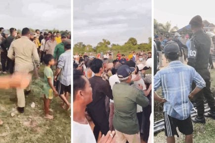 A scuffle over a land dispute breaks out in Preah Sihanouk province's Prey Nob district on December 20, 2020, in photos posted to the district police Facebook page.
