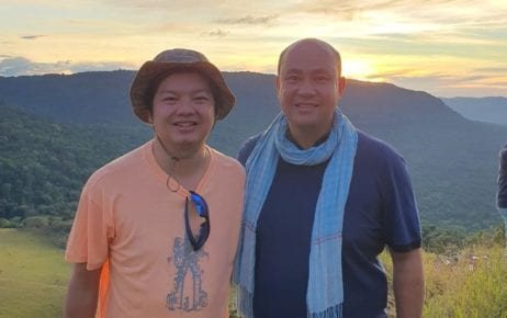 Sok Sangvar, who became undersecretary of state at the Tourism Ministry in December 2020 (left), with CPP lawmaker and son of Prime Minister Hun Sen, Hun Many, in a photograph posted to Sangvar's Facebook page on December 20, 2020.