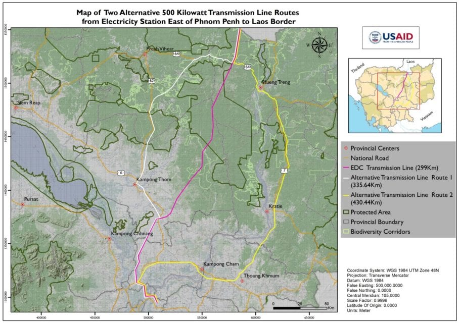 A map of two alternative transmission line routes proposed by representatives of the U.S. government-funded Greening Prey Lang project, both of which are longer but avoid crossing Prey Lang Wildlife Sanctuary. (USAID Greening Prey Lang)