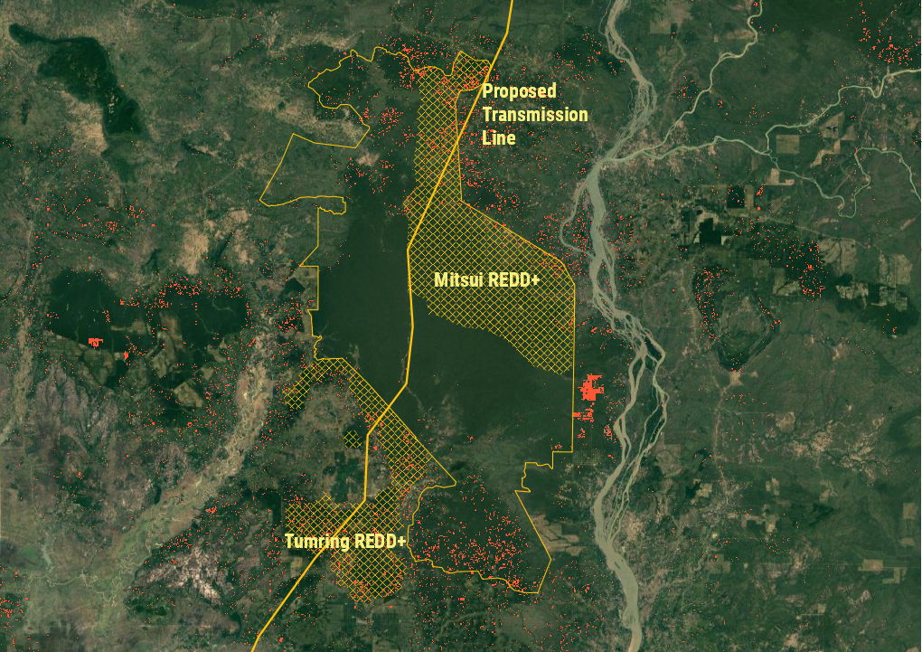 The Laos-Cambodia transmission line's planned path through the Prey Lang Wildlife Sanctuary. Orange dots mark deforestation in 2019 and 2020 detected by the University of Maryland's Global Land Analysis and Discovery. (Danielle Keeton-Olsen/VOD)
