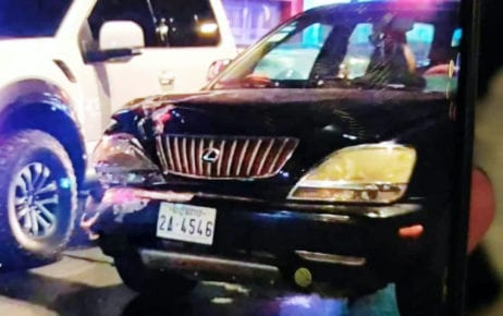 The Lexus SUV that carried the alleged shooter of Phnom Penh municipal police officer Reth Sineth in December 2020. (National Police)
