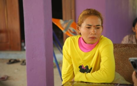 Lae Sinuon, 28, speaks on the first anniversary of a building collapse in Kep province that killed her sister and niece, in Kampot province's Chumkiri district on January 3, 2021. (Heng Vichet/VOD)