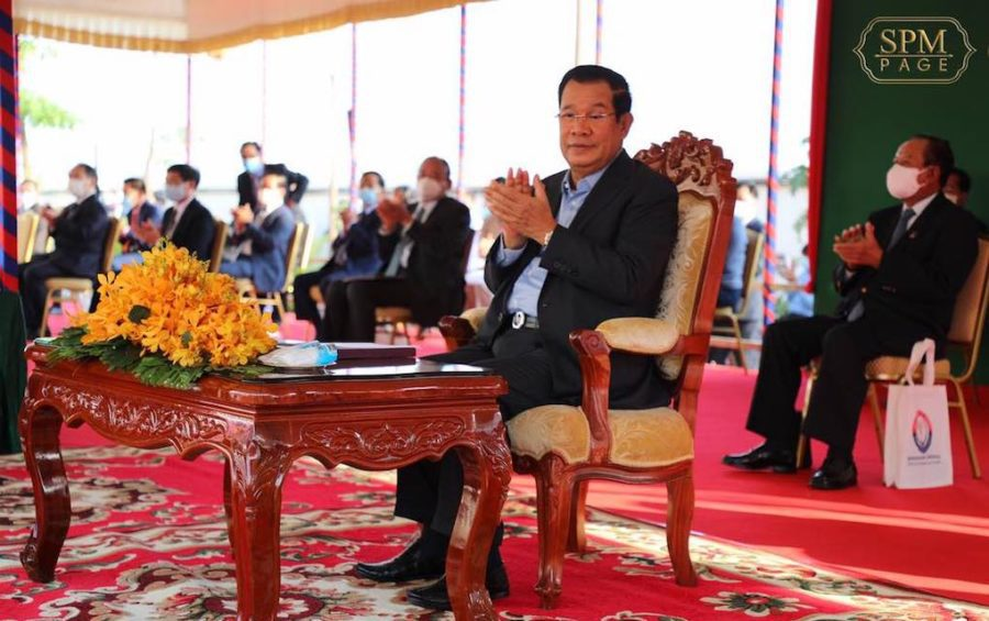 Prime Minister Hun Sen applauds during an event on January 22, 2021, in a photograph posted to his Facebook page.