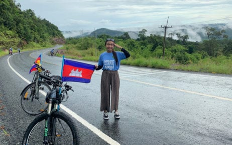 Environmental activist Phuon Keoreaksmey, during a cycling campaign in 2020. (Mother Nature Cambodia)
