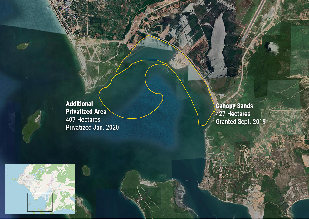 A map showing more than 800 hectares of sea off the coast of Preah Sihanouk province's Prey Nob district privatized in 2019 and 2020 for Canopy Sands Development and unspecified purposes. (Danielle Keeton-Olsen/VOD)