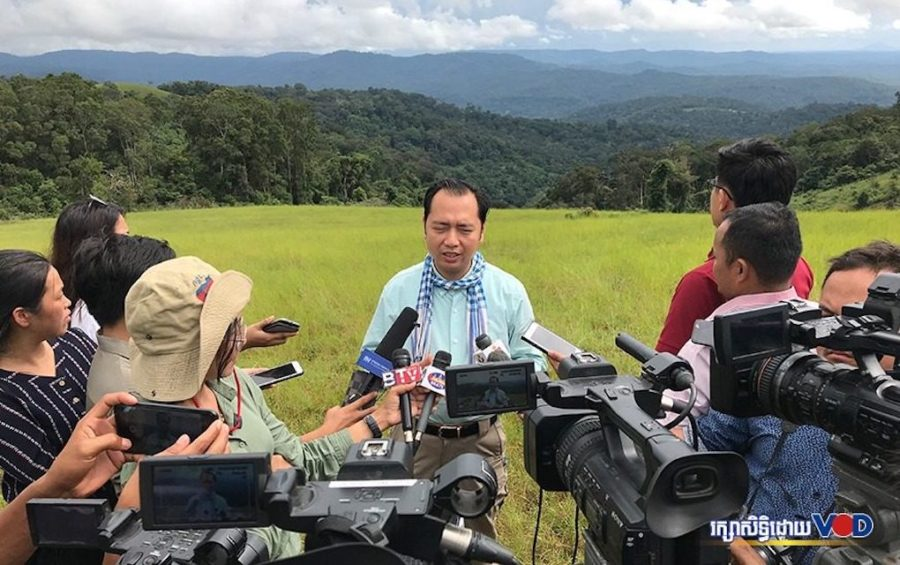Environment Ministry spokesperson Neth Pheaktra speaks with journalists in Keo Seima Wildlife Sanctuary in Mondulkiri province's O'Reang district on October 4, 2020. (Chorn Chanren/VOD)