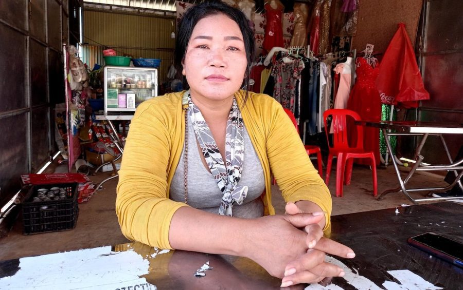 Former garment worker Chan Bony, 42, in her tailor shop in Kandal province's Mok Kampoul district in January 2021. (Yon Sineat/VOD)