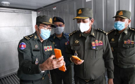 Defense Minister Tea Banh inspects Covid-19 vaccine storage facilities on February 1, 2021, in a photo posted to his Facebook page on February 5, 2021.