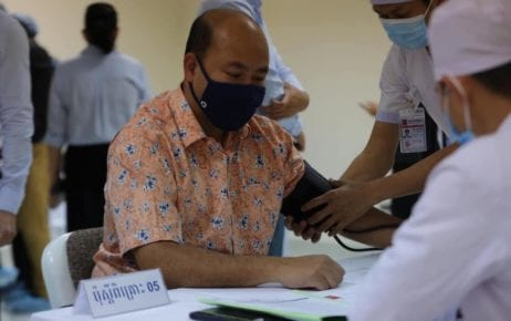 Hun Many, one of Prime Minister Hun Sen's sons, receives a medical checkup at Calmette Hospital on February 10, 2021, in this photo posted to his Facebook page. Many did not receive the Covid-19 vaccine due to a cold.