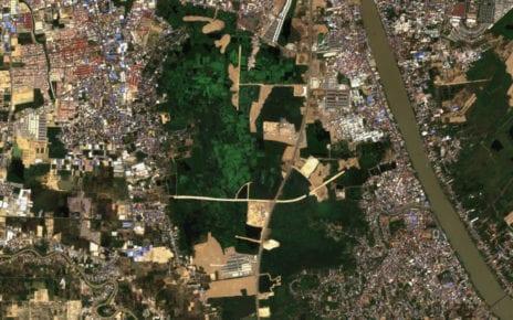 Development on the Boeng Tompun wetlands, in a E.U. Sentinel satellite photo from February 19, 2021.