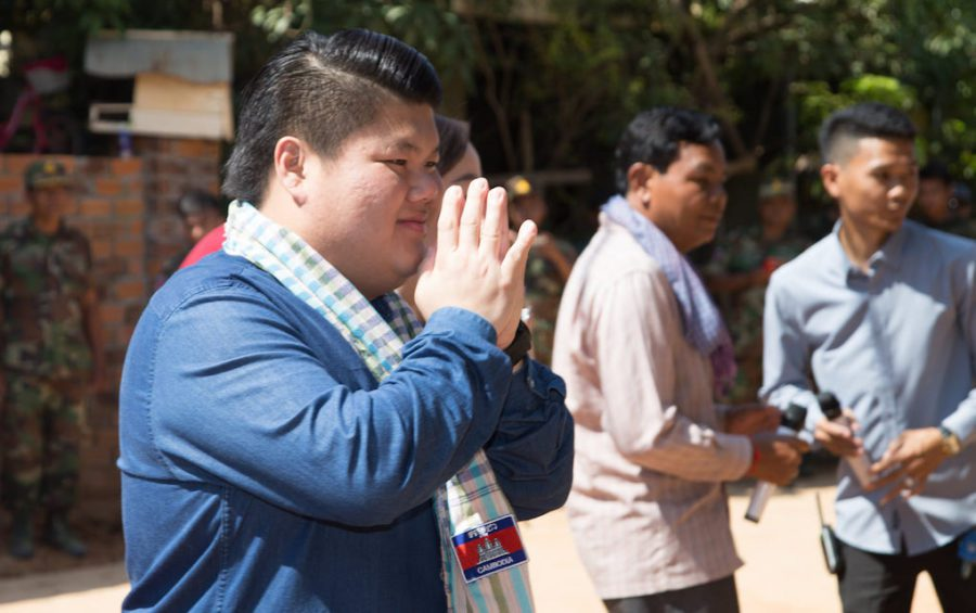 Duong Chhay gestures during a charity event in October 2020, in this photograph posted to his Facebook page.