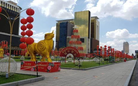 The park in front of Phnom Penh's NagaWorld hotel and casino complex, decorated for Chinese New Year, on March 1, 2021. (Danielle Keeton-Olsen/VOD)