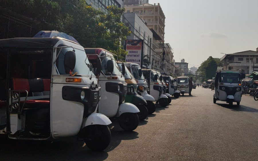 Tuk-tuks parked outside Phnom Penh's Boeng Keng Kang market on February 26, 2021. (Tran Techseng/VOD)