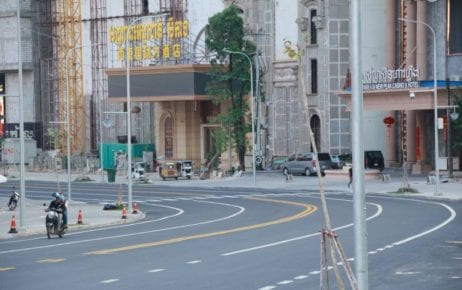 Near empty streets in Sihanoukville on March 4, 2021 as the Preah Sihanouk provincial administration announced a ban on travel in and out of the province following a rise in Covid-19 cases. (Preah Sihanouk provincial administration's Facebook page)